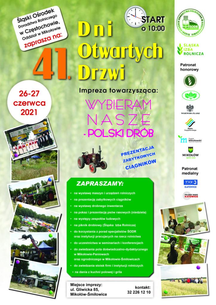 Plakat promocyjny 41. Dni Otwartych Drzwi z imprezą towarzyszącą WYBIERAM NASZE - POLSKI DRÓB.