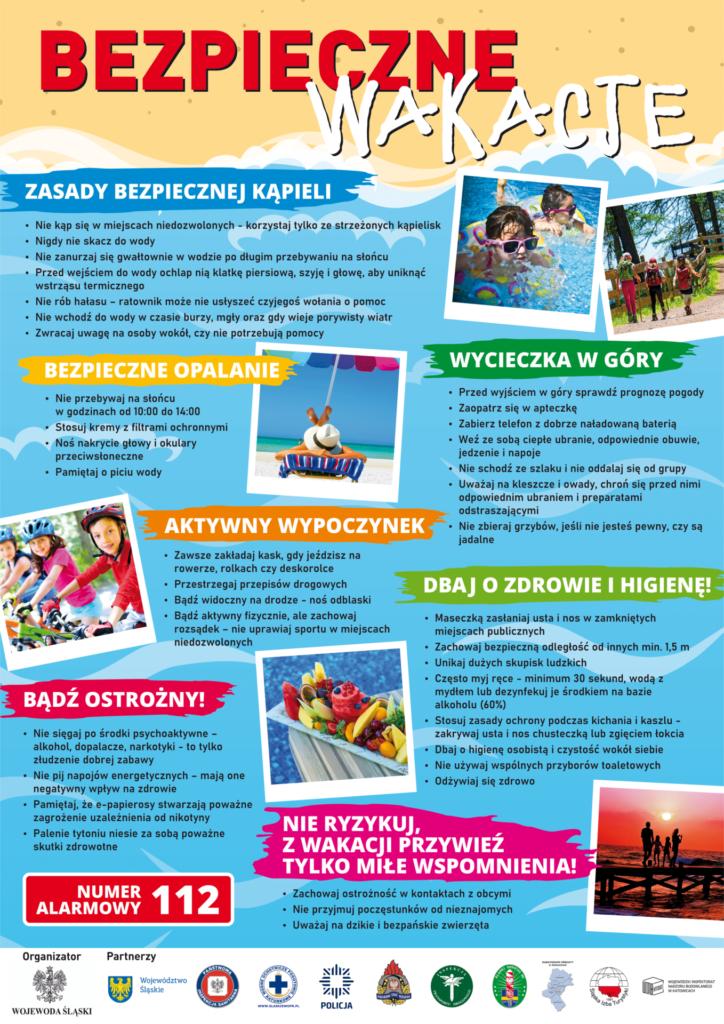Plakat promocyjny - bezpieczne wakacje.
