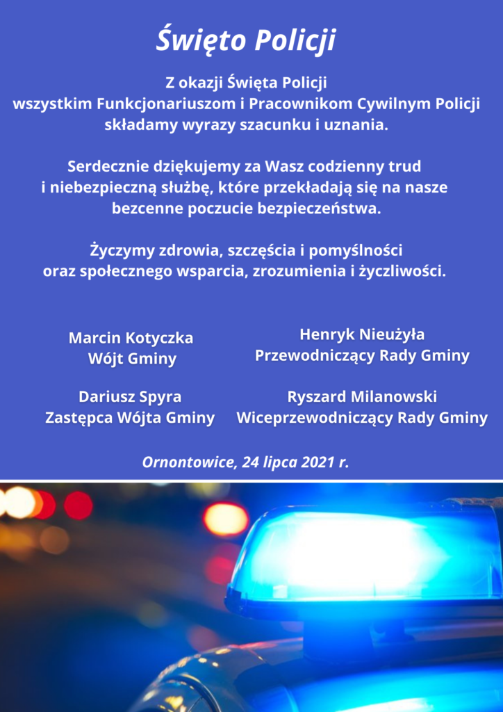 Życzenia z okazji Święta Policji 2021.