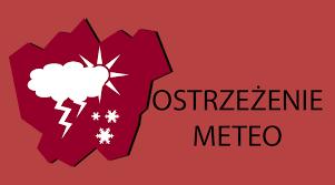 Grafika z napisem: ostrzeżenie meteorologiczne.