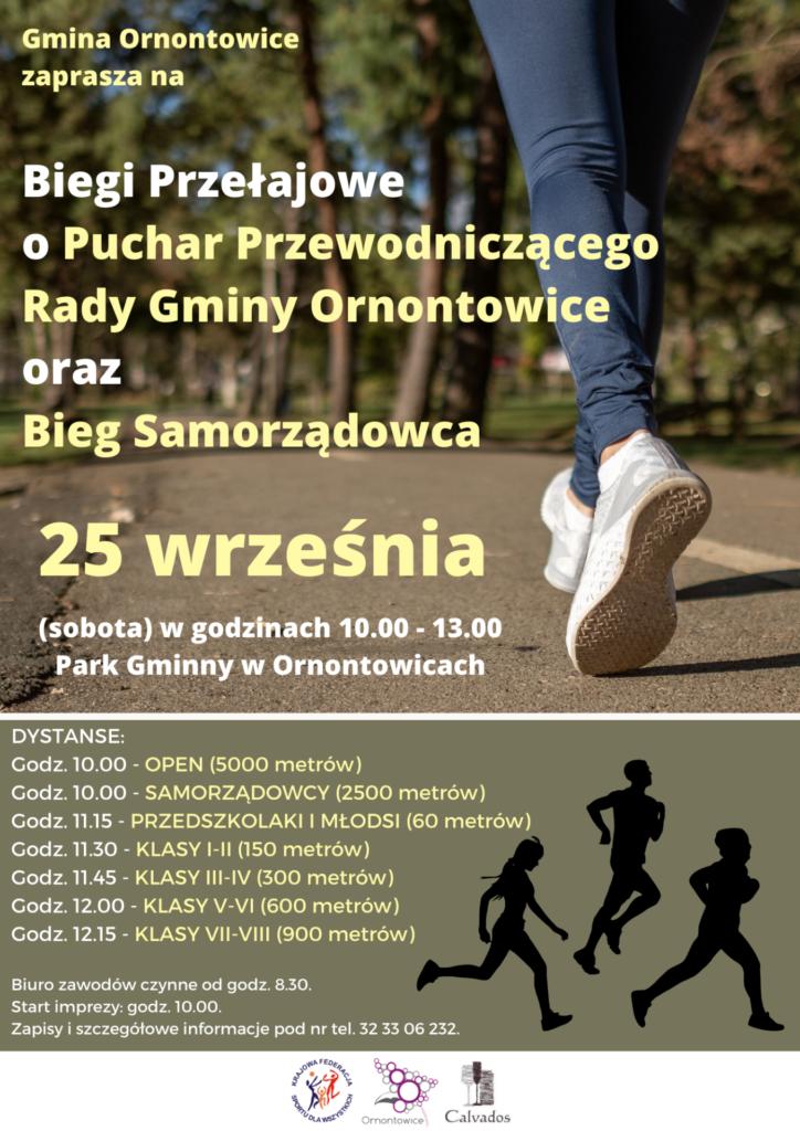 Plakat promocyjny: Biegi Przełajowe o Puchar Przewodniczącego Rady Gminy Ornontowice oraz Bieg Samorządowca.