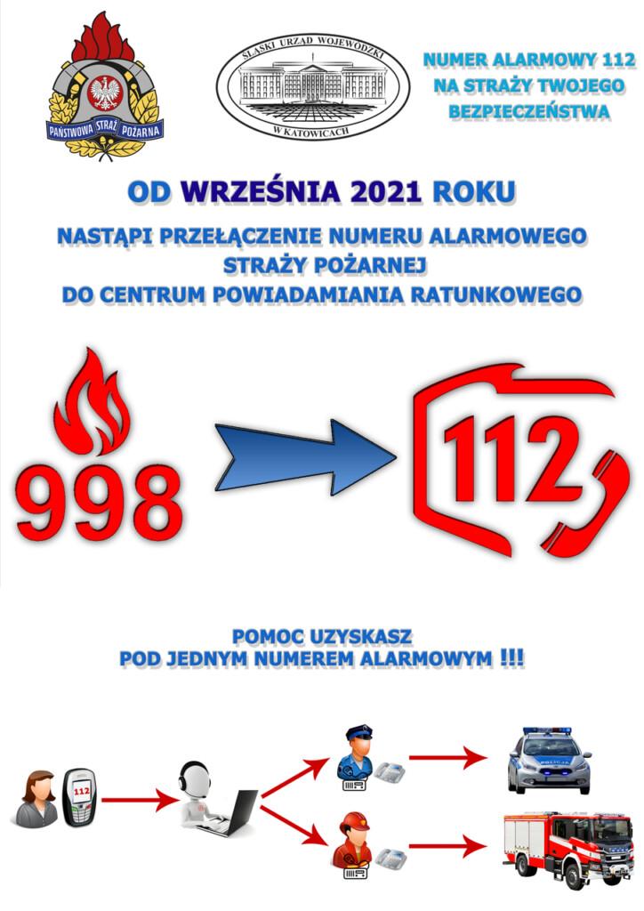 Plakat promocyjny - przełączenie numeru 998 do 112.