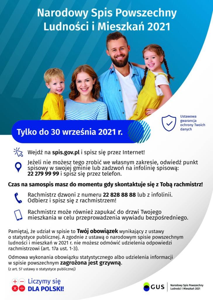 Plakat promocyjny: Narodowy Spis Ludności i Mieszkań 2021