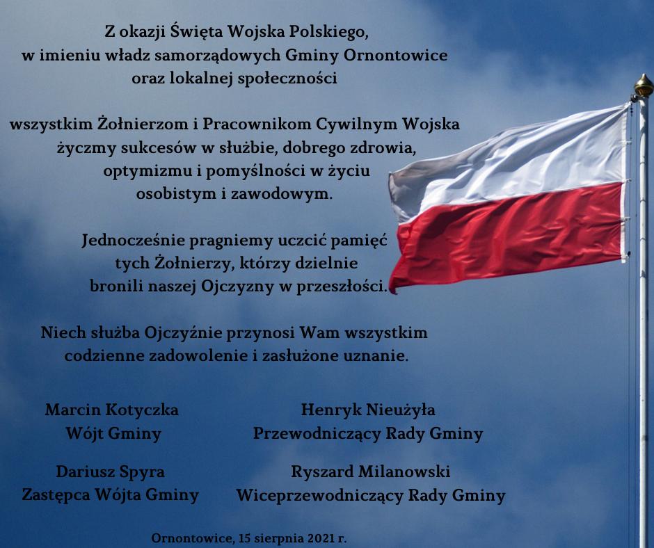 Życzenia z okazji Święta Wojska Polskiego.