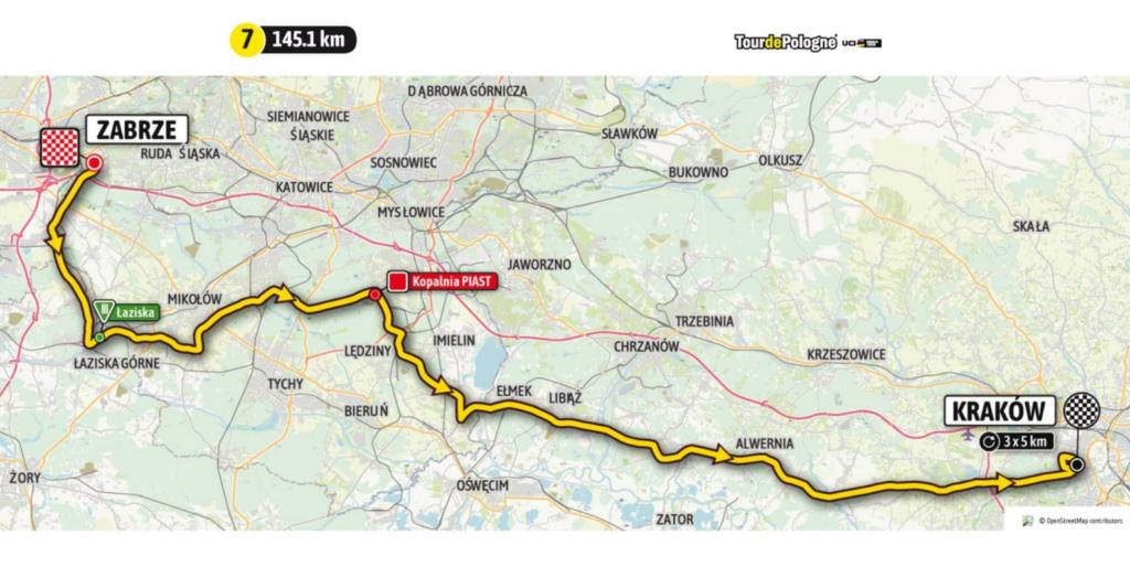 Mapa przejazdu 7. etapu Tour de Pologne 2021.