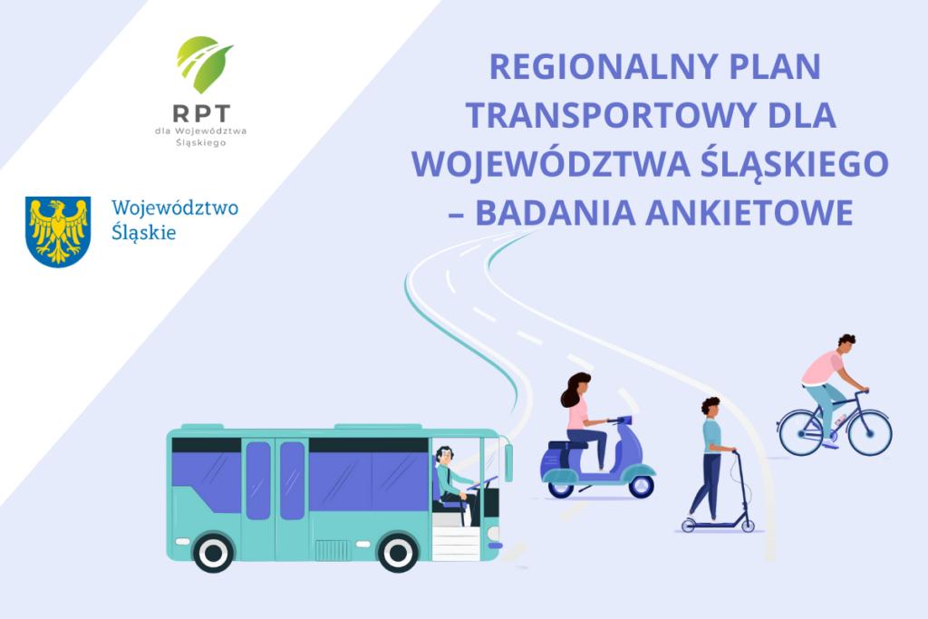 Grafika promocyjna - Regionalny Plan Transportowy dla Województwa Śląskiego - badania ankietowe.