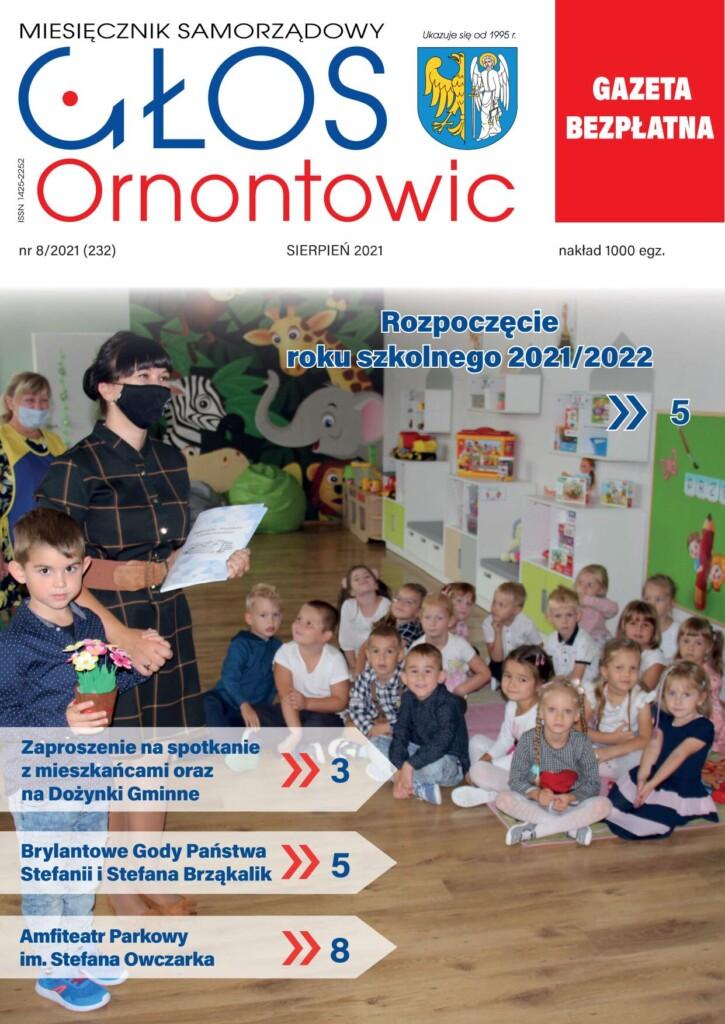 "Okładka ""Głosu Ornontowic"" nr 8/2021 (232)."