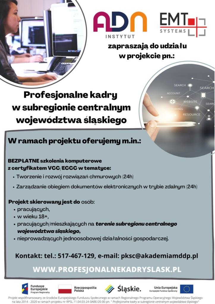Plakat promocyjny: Wojewódzki Urząd Pracy w Katowicach - BEZPŁATNE szkolenia komputerowe.