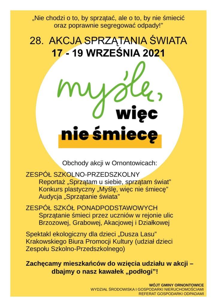 Plakat promocyjny - 28. AKCJA SPRZĄTANIA ŚWIATA.