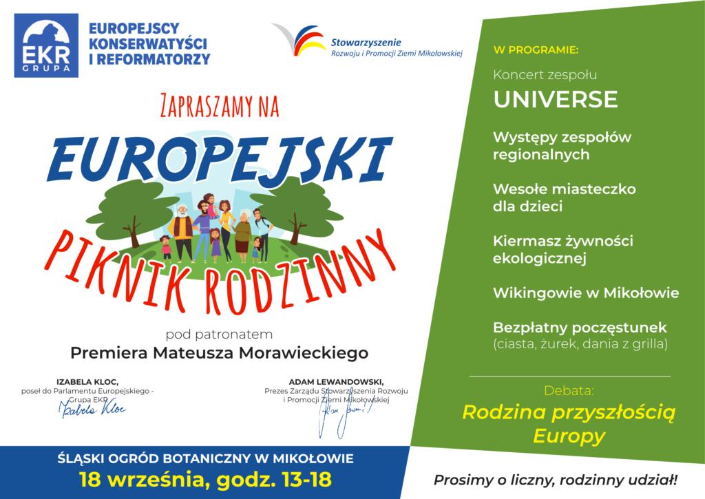 zaproszenie na Europejski Piknik Rodzinny