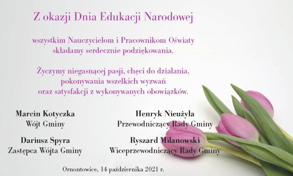 Grafika z życzeniami z okazji Dnia Edukacji Narodowej.