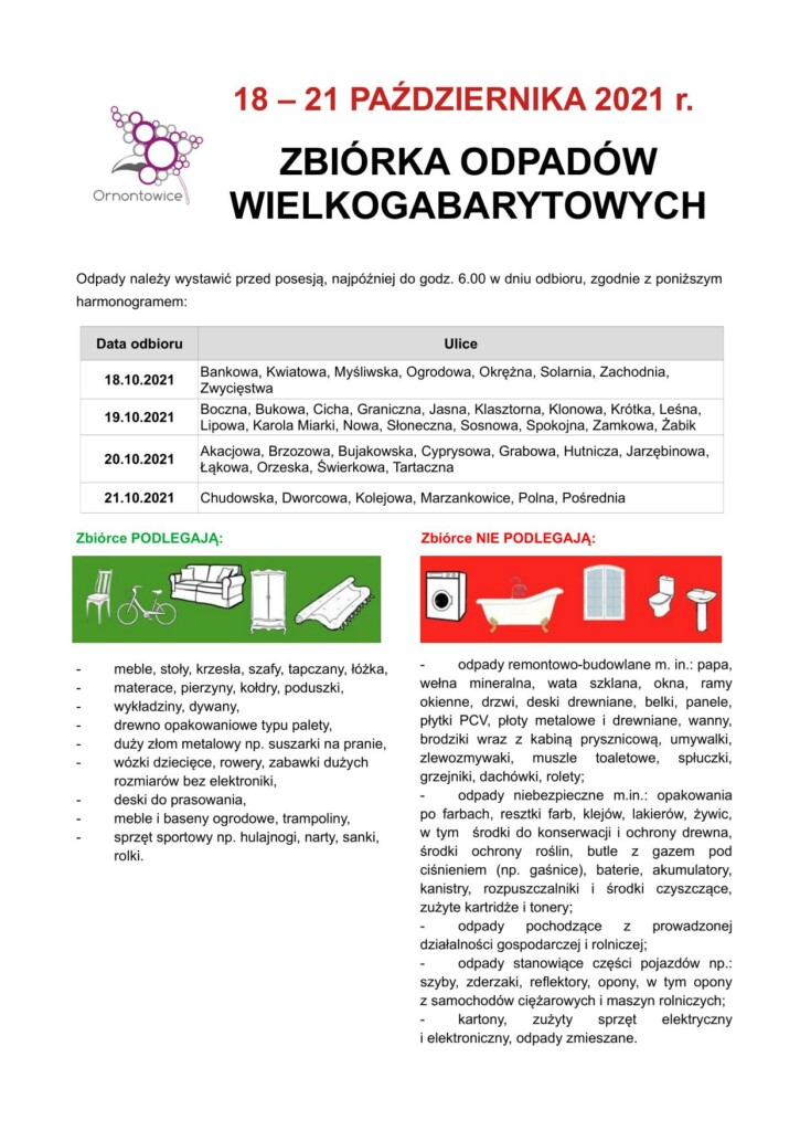 Plakat informacyjny - zbiórka odpadów wielkogabarytowych.