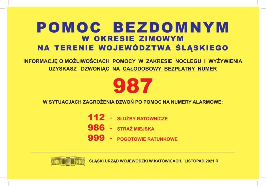 Plakat promocyjny: pomoc bezdomnym w okresie zimowym na terenie Województwa Śląskiego.